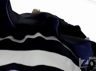 Up1936# Slim girl in a short striped skirt. Escalator can shoot great hot teen girls upskirt. Exce