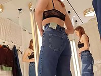 Sp2658# The girl is trying on jeans and we were able to appreciate her white panties and thighs. The