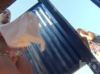 Bc2404# A girl with a tight body changes her bra in a beach cabin. Her beautiful boobs fell into the