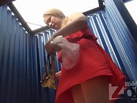Bc1968# Fat girl in a red sundress dresses. Big tits in the Lenses of our hidden camera. Excellent c
