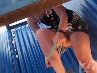 Bc1590# The girl in the dress went into the cabin and changed her panties fingered her shaved puss