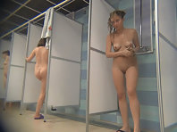 Voyeur beauty with a smooth body in the shower.