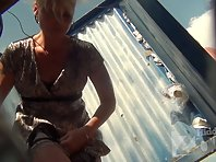 Bc1713# This sly girl change her panties without taking a long dress. Beach cabin voyeur cam only
