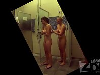 Sh1470# Two friends take a shower after the pool. One washes the other back. Two naked girls - thi