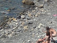 Nu1297# Shooting a hidden camera at a nude beach. Our operator filmed from a cliff naked beauties