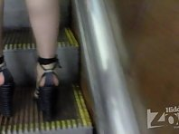Up1743# The blonde in a short black skirt. Beautiful crotch with big thighs in black strings and f