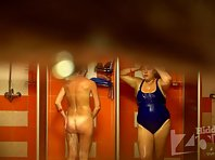 Sh1221# Two girlfriends taking a shower after the pool. Beautiful body with tan lines from one of