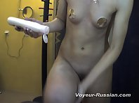 Pv587# Slim girl smeared with cream before sunburn. Our cameraman, from behind the mirror, filmed he