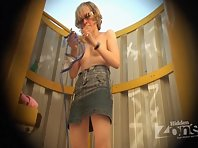 Bc1627# Sexy chick in sunglasses changes her bra it's a real beach cabin voyeur pleasure. Chest is