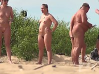 Nu1689# Company nudist sunbathing and talking about their affairs. Naked women are very beautiful