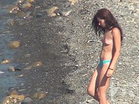 Nu1427# Nude beach voyeur cam focused on two girlfriends. One small chest, but the other chic! How