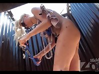 Bc2027# The slender blonde dresses up in a beach stall. She quickly dressed panties. But our beach c
