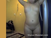 Pv619# Hidden camera in the solarium. Tanned beauty is completely undressed and spreads her dense bo
