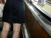Up1565# Beauty in a short black dress Beautiful crotch fishnet stockings and black strings