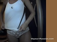 Pv564# The brunette in white lacy panties is smeared with cream in front of the mirror. Beautiful ti