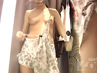 Sp1850# spy sex cam installed in the fitting room. Young chick knows this and tries underwear. We