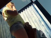 Bc1798# Young girl with huge boobs dress swimsuit. Our beach cabin voyeur filmed close-up this bea