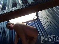 Bc2096# Full brunette dressing in the beach cabin. In the lens of our hidden camera, her small tits
