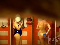 Sh1222# Two girls take a shower after the pool. Fat girl weighed and licks her tits while standing