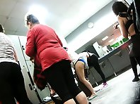 Lo1475# Girls and women dress up after a workout. Our locker room voyeur cam takes their athletic