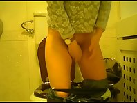 Wc2910# Girl with a chic ass in black panties pee standing. View from two cameras. Great shots from