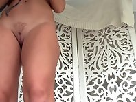 Sp2436# In this video, a very good close-up of shaved pussy. A girl stands at a short distance oppos