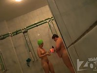 Sh911# The girl and her mother take a shower and soaping each other in the shower after the pool!