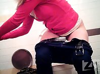 Wc1850# Skinny girl pee standing up. Our girls toilets hidden cams took off her hairy pussy close-
