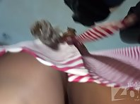Up2826# Under the skirt of a slender girl in a striped dress. Beautiful ass and shaved crotch in whi