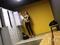 Lo1706# Two babes in the locker room of fitness club. They just come and start to undress. It is ver