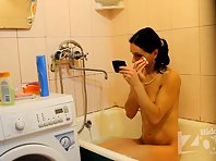 Sp1473# She put her pussy under running shower, but aqua masturbation is not solved.