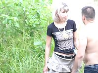 Nu1940# The couple finished fucking. A woman is wiping a pussy with a napkin. When fucking in nature