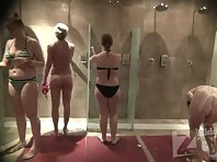 Sh1920# In this video, we first observe one pretty chick, then a few more girls enter the shower roo