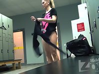 Lo1534# Another babe undressed in front of the lens Locker room voyeur cam. She had very large bre