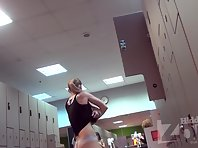 Lo1604# The blonde with a sports body undressing after a workout. Gorgeous tits and shaved pussy c