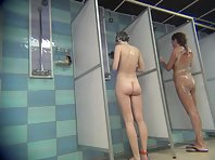 Voyeur naked girls in the shower.