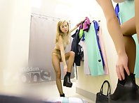 Sp2261# In the fitting room, a new visitor is a long-haired blonde. Her pantyhose will please many n