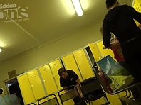 Lo1402# Two students undress before you go to the shower. Locker room voyeur cam watching them as