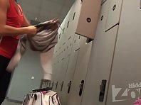 Lo1557# Hidden camera in the women's locker room of the pool. Our cameraman filmed on locker room