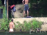 Nu1258# Girls swim and came out of the water. One of them is gone, and the other was left to drink