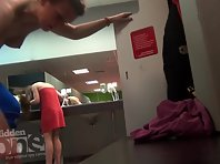 Lo1612# Blonde undresses after training. Our hidden camera is behind her. Good shots locker room v