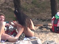Nu1403# Another couple hit the lens nude beach voyeur cam. Beautiful slim blonde inserts her own n