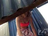 Bc2389# A tanned woman quickly took off her panties and put on a skirt. But our cameraman managed to