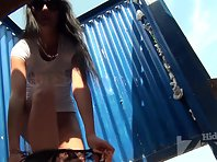 Bc2225# Hidden camera in the beach cabin. Tanned brunette quickly changed her clothes in front of ou