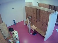 Lo1847# Several women stayed longer in the locker room. We can watch them change, from beginning to