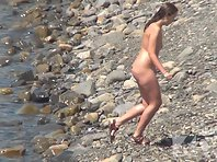 Nu1293# Shooting a hidden camera at a nude beach. Our operator filmed from a cliff naked beauties