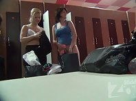 Lo1375# Once again, the locker room voyeur cam angle changed and several women were in our lens. A