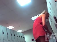 Lo1603# The slender blonde dressed after a workout. Our cameraman filmed in the locker room voyeur