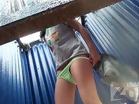 Bc2106# A slender girl quickly changes her swimsuit. Our operator photographed her shaved crotch and