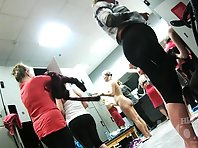 Lo1476# Our cameraman filmed by hidden camera a girls who are going to a shower after training. Go